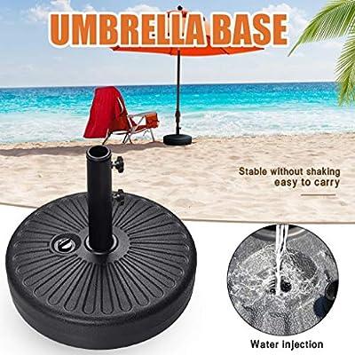 DMZing Patio Umbrella Base Stand, Stone Umbrella Base,Round Umbrella Stand Plastic Parasol Base for Outdoor Garden Beach, Water Filled Stand Market Patio Outdoor Heavy Duty Umbrella Holder (Black)