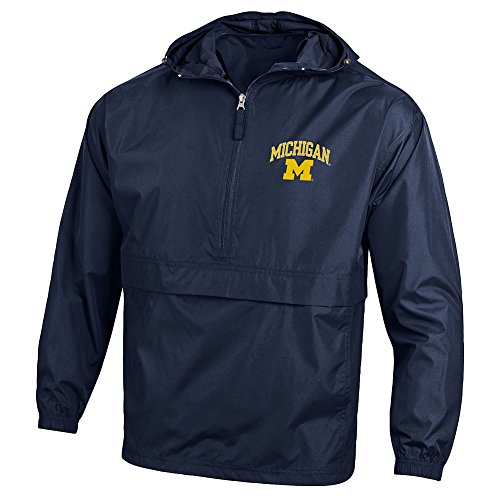 Elite Fan Shop Michigan Wolverines Packable Jacket Navy - Large