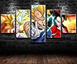 REWE Lienzo 5 Partes Póster de Dragon Ball Z-A_200 × 100cm Cuadro Mural de Varios Paneles Lienzo Panel Fotos imágenes Salon Regalo decoración Painting lienzos Decorativos XXL Personalizado