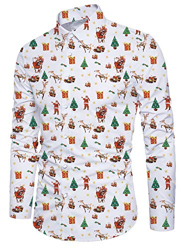 Alistyle Mens Christmas Button Down Shirt Cotton Slim Fit Funny 3D Santa Claus Dress Shirts for Xmas Praty