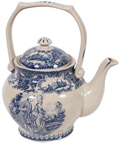 Biscottini Teiera in Stile Inglese L17xPR11xH20 cm in Ceramica Decorata Bianca e Blu