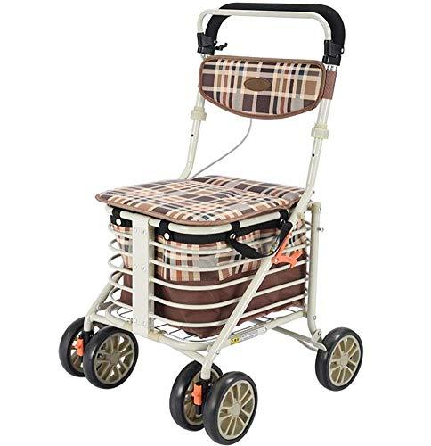 Z-SEAT Älterer Walker, Aluminium-Allrad-Rollator-Gehhilfesitz und Einkaufskorb Höhenverstellbares Licht und Rollator-Walker mit sicherem Design