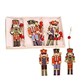 Newooh 9Pcs Christmas Nutcrackers Walnut Soldier Wooden Pendant - Christmas Tree Hanging Ornaments - Holiday Decorations