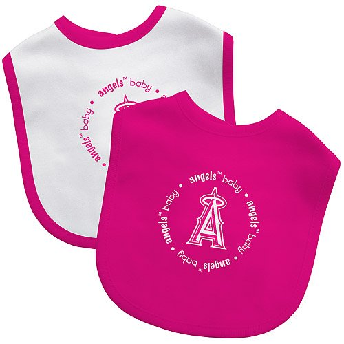 Pink Los Angeles Angels set of 2 Baby Bibs MLB licensed New in packaging