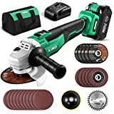 KIMO 20V Brushless Cordless Angle Grinder, 4-1/2 Inch, 9000RPM w/ 4.0Ah Lithium-Ion Battery & Fast Charger, 2-Position Adjustable Auxiliary Handle, Electric Brake, 5 Cutting Wheels, 5 Grinding Wheels