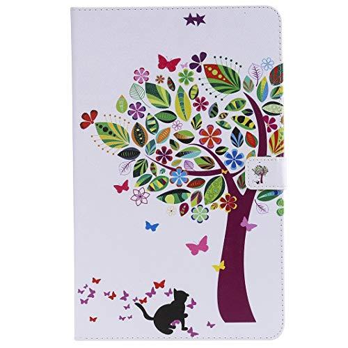 Yiizy Hülle für Samsung Galaxy Tab A2 (T590 T595) Hülle PU Ledertasche, Farbe Baum [ID & Kreditkarte] Slots Beutel Taschen Geldbörse Flip Magnética Gürtel Stehen Schutz Schale Tasche
