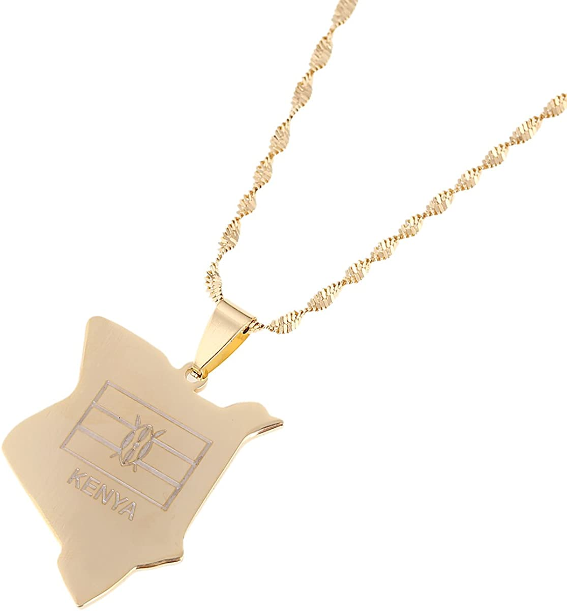 Kenya Map Pendant Necklaces Jewellery Gold African Country Map Kenyans Jewelry