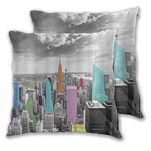 MOBEITI Juego de 2 Decorativo Funda de Cojín Nueva York Noche Moderna Ciudad Colorida Funda de Almohada Cuadrado para Sofá Cama Decoración para Hogar,60x60cm