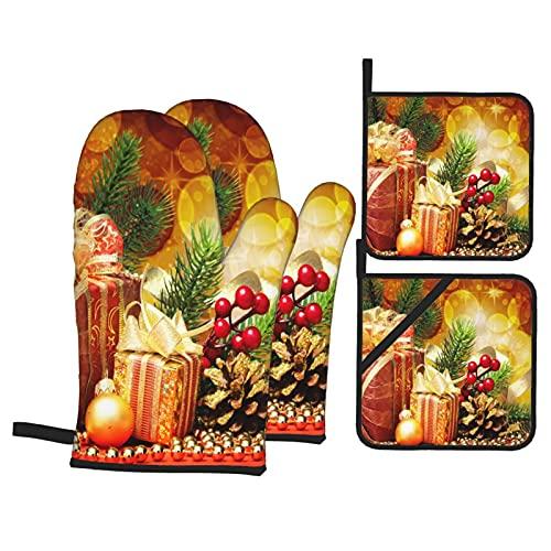 Presine e Guanti da Forno Set,Abete Di Natale Con Regali E Decorazioni Natalizie Guanti da Cucina Resistenti al Calore e Set di Presine da Cucina, per Cucinando Cottura Grigliare BBQ