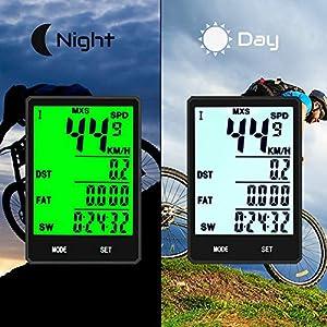 KASTEWILL Velocímetro Inalámbrico Multifunción con Pantalla LED de Retroiluminación, Impermeable, Velocímetro para Bicicleta