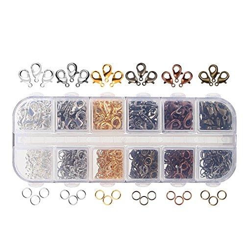 Naler - Cierres de mosquetón de 6colores y anillas de salto abiertas de 6colores para la fabricación de joyas (12 mm, 5 mm), juego de 1020 unidades de joyería