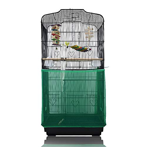 ASOCEA Extra Large Bird Cage Seed Catcher Seeds Guard Skirt Birdcage Nylon Mesh Netting Parrot Parakeet Round Square Cage - Green (Not Include Birdcage)