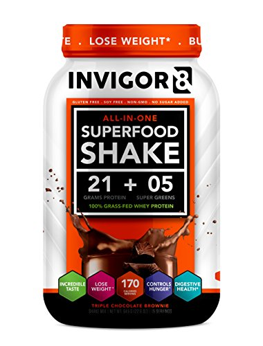 INVIGOR8 Superfood Shake (Chocolate Brownie) with Immunity Boosters - Gluten-Free and Non GMO Meal Replacement Grass-Fed Whey Protein Shake with Probiotics and Omega 3 (645g)