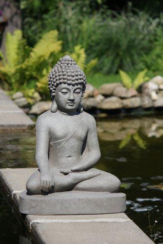 Figur Buddha sitzend Bhumisparsha-mudra – für Haus und Garten – Höhe 80 cm – grau - 4