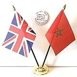 Reino Unido & Morocco new Doble Amistad De mesa Banderas & Conjunto De Placa