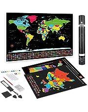 Anpro Wereldkaart met kaart van Europa om te krassen, kras wereldkaart kras landkaart wereldkaart 63 x 42 cm, Europakaart 52 x 35 cm prikbord om vrij te krassen, poster incl. geschenkverpakking, zwart goud