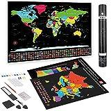 Anpro Carte du Monde a gratter Complet,Il Contient Trois Cartes (Monde, Europe, États-Unis) et...