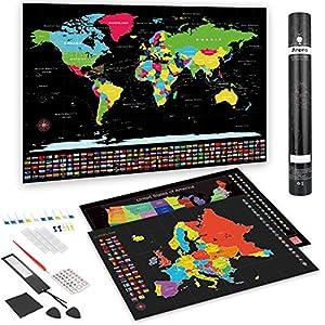 Anpro Mapa Mundi Rascar Pared Grande,Mapa Rascar Europa y Estados Unido con 46 PCS Accesorios,Regalo para Navidad,Cumpleaños,Viaje