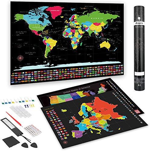 Anpro Mappa del Mondo da Grattare+ Mappa Europa da Grattare+ Mappa Stati Uniti D'america, 26 Pcs Mappa Grattare Set con Puntine e Bandiere Nazionale, Idee Regalo per Viaggiatori e Natale
