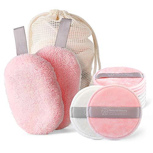 Elegear Almohadillas Desmaquillantes Reutilizables 10 Uds Discos Desmaquilladores, Algodón para Removedor con 2 Lavable Maquillaje Facial Paños de Limpieza y 1 Bolsa de Lavado para Cara Todo Pieles