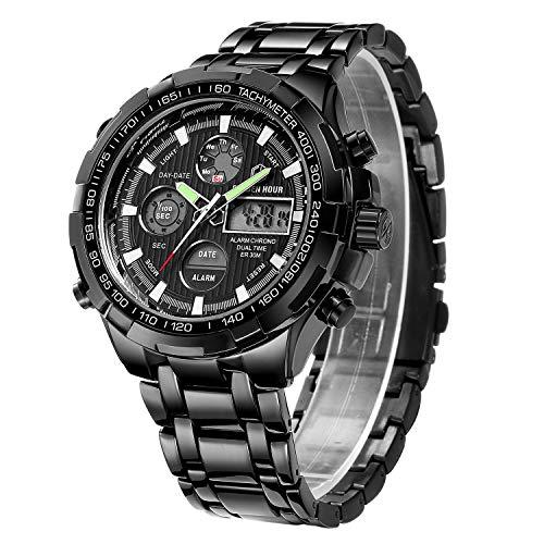 Reloj deportivo de pulsera analógico y digital de cuarzo para hombre, cronógrafo, esfera grande, acero inoxidable, resistente al agua, color negro