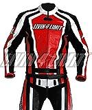 4LIMIT Sports Motorrad Lederkombi LAGUNA SECA Zweiteiler, Rot-Schwarz-Weiß, Größe XL