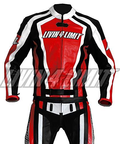 4LIMIT Sports Motorrad Lederkombi LAGUNA SECA Zweiteiler, Rot-Schwarz-Weiß, Größe M