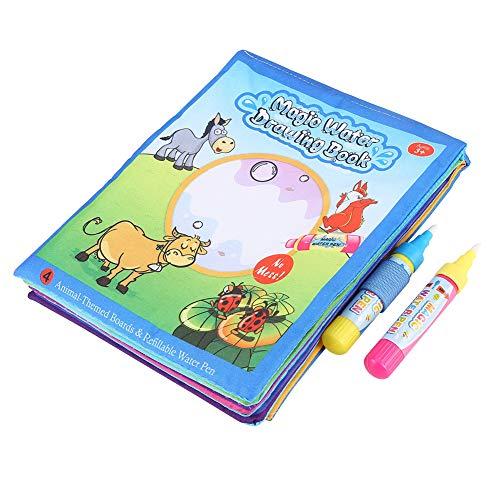 Atyhao Libros de Tela Suave para bebés, Libro de Tela para Colorear mágico para niños, Libros de Tela táctil con bolígrafo de Dibujo de Agua, Juguete de Aprendizaje temprano para bebés, bebés