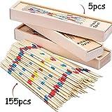 BESTZY 155pcs Mikado Juego de Mesa con Caja de Madera Sticks...