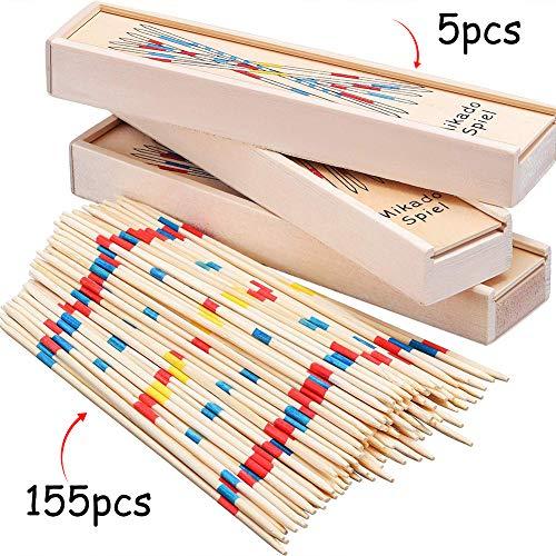 BESTZY 155pcs Mikado Juego de Mesa con Caja de Madera Sticks Estrategia Palillos Palitos Chinos