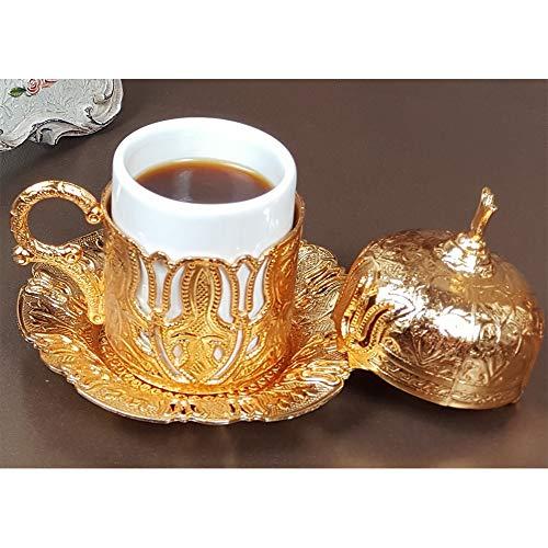Türkische, griechische, marokkanische, arabische Demitasse Kaffeetasse und Untertasse mit Henkeldeckel innen, Porzellan zum Servieren und Trinken, Einweihungsgeschenk, Frauen (goldene zwei Tulpen)