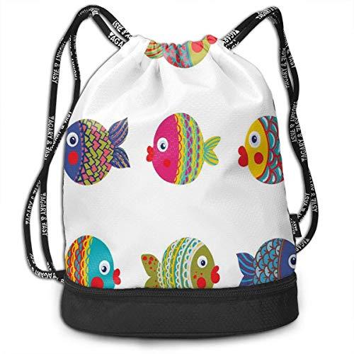 shenguang Drawstring Backpacks Bags,Boho Ethnic Featured Ornate Fishes Gills Under The Sea Childish Kids Nursery Theme,Adjustable