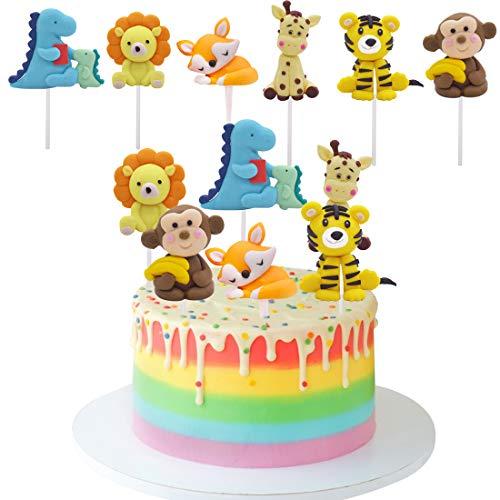 ZSWQ Cupcake Toppers Lindo Selva Temática Animales Mini Juego de Figuras Niños Mini Juguetes Baby Shower Fiesta de cumpleaños Pastel Decoración Suministros 6 piezas