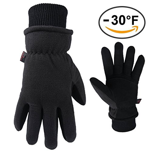 Work Gloves, -40�F Extreme Thermal Leather Winter Glove Bulk |Waterproof & Windproof| Deerskin Suede Palm & Polar Fleece with Insulated Cotton - Warm Hand in Cold Weather for Men & Women (Black,Large)