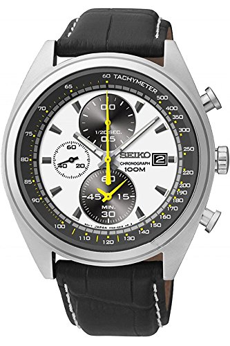 Seiko Men's SNDF93 Chronograph White and Black Dial Black Leather Band Watch
