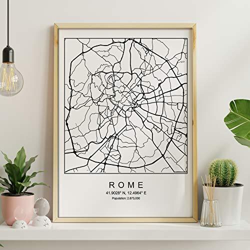 Blade-Rom Stadtplan nordischen Stil schwarz und weiß. A3 Größe Plakat Das bedruckte Papier Keine 250 gr. Gemälde, Drucke und Poster für Wohnzimmer und Schlafzimmer