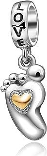 Colgantes de huella de bebé de plata de ley 925 con diseño de corazón dorado y abalorio de amor familiar para pulsera europea