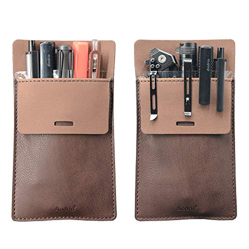 Pocket Protector, Leather Pen Pouch Holder Organizer, for Shirts Lab Coats, Hold 5 Pens, New Design to Keep Pens Inside When Bend Down. No Breaking of Pen Clip. Thick PU Leather, 2 Per Pack.