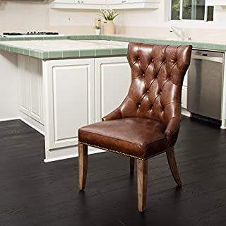 Christopher Knight Home Wharton Top Grain Leather Dining Chair, Brown