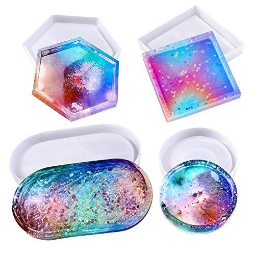 Stampi per Resina Epossidica, Stampo Silicon Sottobicchieri, Stampo tondo, quadrato, esagono, ovale grande, Creazioni UV Gesso Cola
