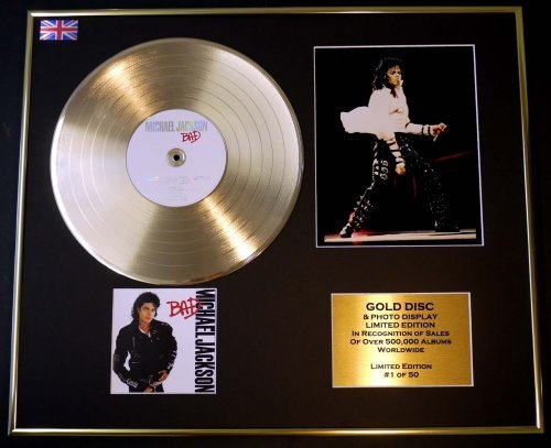 GOLD RECORD Michael Jackson Disque d'or et Photo ÉDITION/COA/Bad