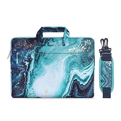 MOSISO Funda Protectora Compatible con 2019 MacBook Pro 16 A2141/15-15.6 MacBook Pro Retina/Surface HP Lenovo Acer ASUS de Portátil, Bolsa de Hombro Blanda Maletín Bandolera de Patrón Mármol, Azul&Oro