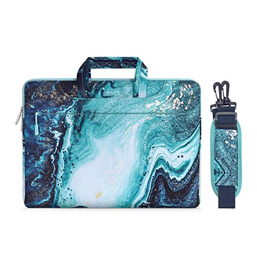 MOSISO Laptop Shoulder Briefcase Bag Compatible with 13-13.3 Inch MacBook Pro, MacBook Air, Notebook Computer, Protective Canvas Marble Pattern Carrying Handbag Sleeve Case Cover, Blue & Gold