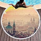 Toalla de Playa Redonda Manta Paisaje Urbano Europeo Amanecer en Praga Grueso Grande Microfibra Playa Roundie Círculo Alfombra de Picnic Estera de Yoga con Borla para Mujeres y Hombres