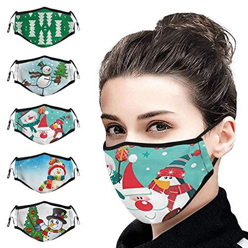 KEYIE 5Pcs Navidad Adulto Reutilizables y Lavables Bandana,Reutilizable Tela Lavable Orejera Ajustable SD142
