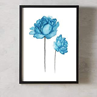 MoharWall Blue Peony Wall Art Wall Art Decor Abstract Flowers Print Shabby Chic Home Watercolor Decoration Living Room Bedroom Nursery