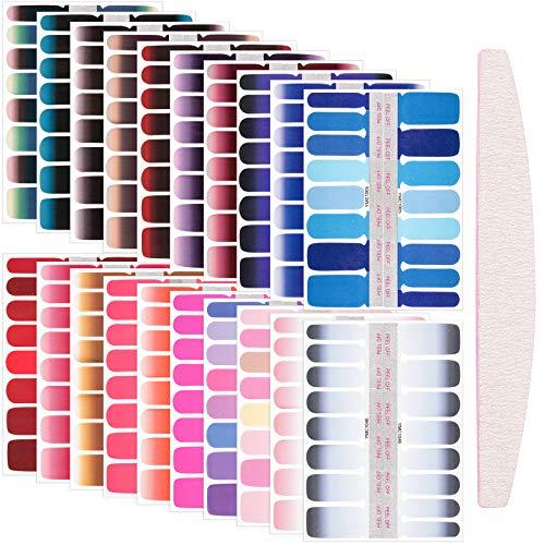 320 Stücke Farbverlauf Nagellack Aufkleber Selbstklebende Voll Nagel Wickeln Einfarbige Nagel Abziehbilder Farbverlauf Nagel Verpackungen mit Nagelfeile