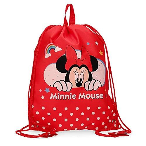 Disney Bolsa de Merienda Minnie Rainbow, Rojo, 27x34 cm