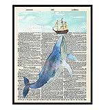 Nautical Whale Dictionary Wall Art - 8x10 Photo, Picture - Ocean, Sea, Beach Home Decor, Shabby Chic Decoration - Unique Gift - Cool Bath, Bathroom Art - Unframed Poster Print