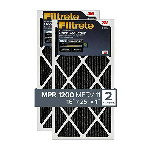 Filtrete 16x25x1, AC Furnace Air Filter, MPR 1200, Allergen Defense Odor Reduction, 2-Pack (exact dimensions 15.69 x 24.69 x 0.81)